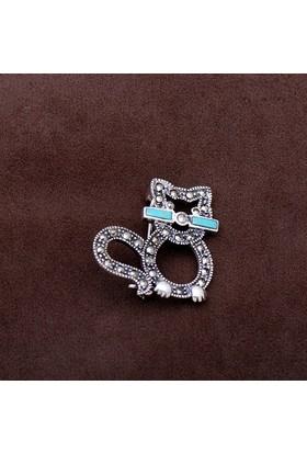 Sümer Telkari Kedi Tasarım Markazit Taşlı Gümüş Broş 195