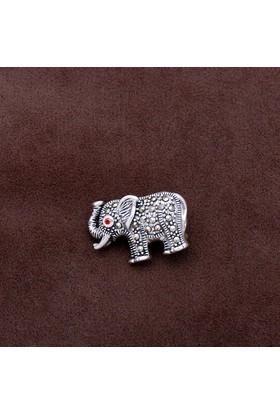 Sümer Telkari Fil Tasarım Markazit Taşlı Gümüş Broş 198