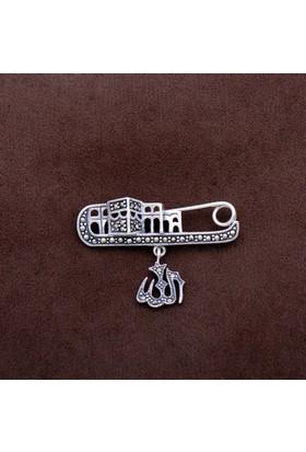Sümer Telkari Allah Yazılı Markazit Taşlı Gümüş İğne 201