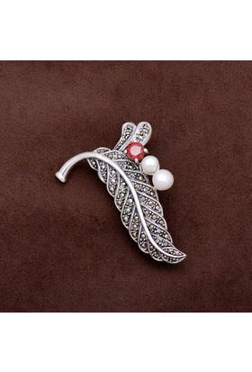 Sümer Telkari Tasarım Yaprak Markazit Taşlı Gümüş Broş 157