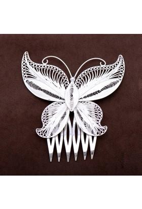 Sümer Telkari Kelebek Tasarım Telkari Elişi Tarak Gümüş Saç Tokası 09