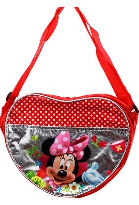 Hunga Kız Çocuk Mıckey Mouse Kalp Model Çapraz Çanta Kırmızı