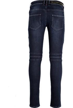 Philipp Plein Jeans Erkek Kot Pantolon Lacivert MDT0644PDE001N