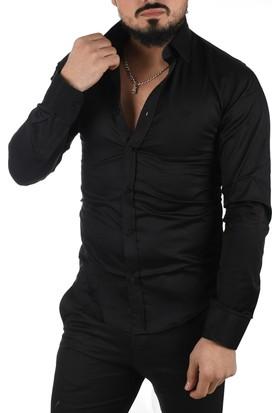 Deepsea Siyah Yüksek Yaka Dar Kesim Pamuk Saten Erkek Gömlek 1703110
