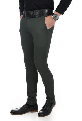 Deepsea Haki Kendinden Örgü Desenli Ufak Cepli Slimfit Erkek Keten Pantolon 1707240