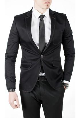 Deepsea Siyah Kolu Yamalı Çima Dikişli Pamuk Saten Blazer Erkek Ceket 1804103