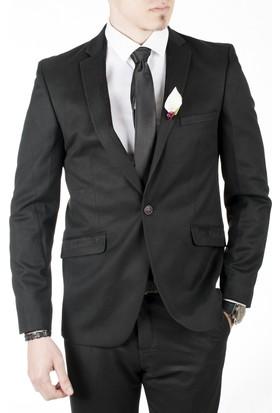Deepsea Siyah Cepleri Ve Yakası Süet Çizgi Desenli Blazer Erkek Ceket 1804111