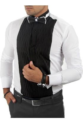 Deepsea Siyah-Beyaz Önü Kabartmalı Çift Renk Uzun Kollu Erkek Gömlek 1601507