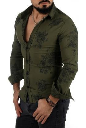Deepsea Haki Çiçek Desenli İplik İşlemeli Likralı Dar Kesim Erkek Gömlek 1701621