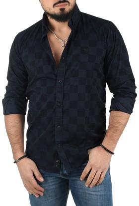 Deepsea Lacivert Kareli Flok Baskılı İtalyan Kesim Slimfit Uzun Kollu Erkek Gömlek 1502019