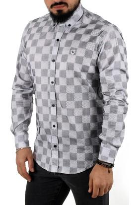Deepsea Siyah-Beyaz Kareli Flok Baskılı İtalyan Kesim Slimfit Uzun Kollu Erkek Gömlek 1502019