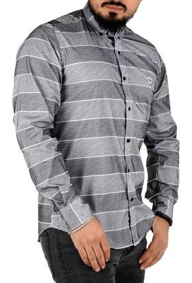 Deepsea Siyah-Beyaz Yuvarlak Desenli Flok Baskılı Slimfit Uzun Kollu Erkek Gömlek 1802173