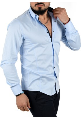 Deepsea Mavi Açık Çıtçıtlı Armalı Pamuk Saten Uzun Kollu Erkek Gömlek 1601563