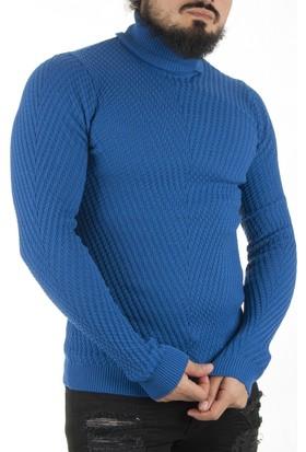 Deepsea Saks Mavi Örgü Desenli Yeni Sezon Slimfit Balıkçı Yaka Erkek Kazak 1601054