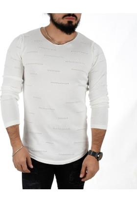 Deepsea Beyaz İtalyan Stil Açık Yaka Modelli Erkek Kazak 1808032
