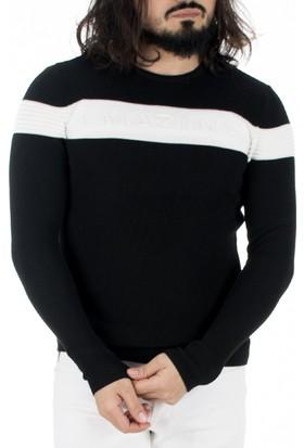 Deepsea Siyah-Beyaz Çift Renkli Önü Kabartma Baskılı Yeni Sezon Erkek Kazak 1808035