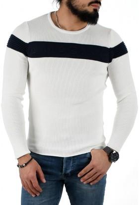 Deepsea Beyaz-Lacivert Çift Renkli Önü Kabartma Baskılı Yeni Sezon Erkek Kazak 1808035