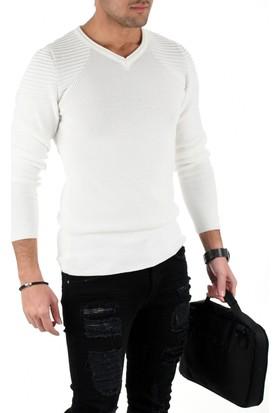 Deepsea Beyaz Modelli Kolları Pileli V Yaka Yeni Sezon Slimfit Erkek Kazak 1808037