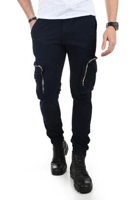 Deepsea Lacivert Paçası Ve Beli Lastikli Cep Fermuarlı Erkek Spor-Kargo Pantolon 1801574