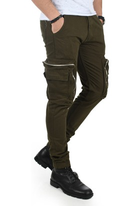 Deepsea Haki Paçası Ve Beli Lastikli Cep Fermuarlı Erkek Spor-Kargo Pantolon 1801574