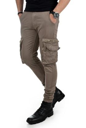 Deepsea Bej Paçası Ve Beli Lastikli Cep Fermuarlı Erkek Spor-Kargo Pantolon 1801574