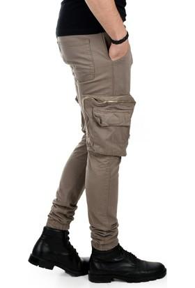 d75f5ab3eceb2 ... Deepsea Bej Paçası Ve Beli Lastikli Cep Fermuarlı Erkek Spor-Kargo  Pantolon 1801574