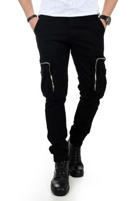 Deepsea Siyah Paçası Ve Beli Lastikli Cep Fermuarlı Erkek Spor-Kargo Pantolon 1801574