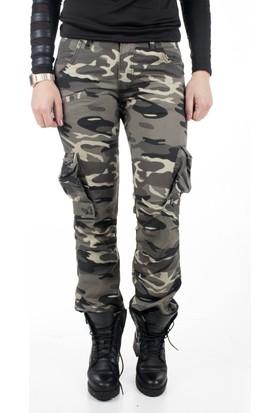 Deepsea Kahverengi Açık Yıkamalı Dar Kesim Bayan Askeri Kamuflaj Pantolon 1621194