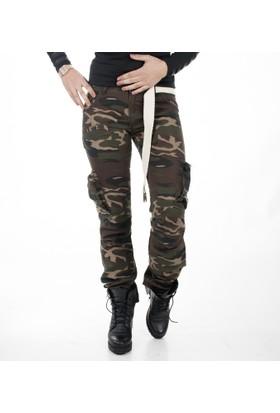 Deepsea Yeşil-Bej Yıkamalı Dar Kesim Bayan Askeri Kamuflaj Pantolon 1621194