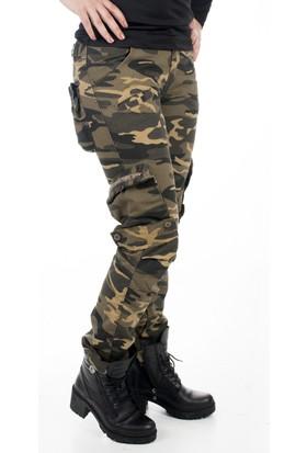 Deepsea Yeşil-Camel Yıkamalı Dar Kesim Bayan Askeri Kamuflaj Pantolon 1621194