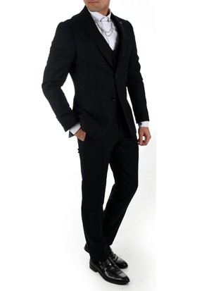 Deepsea Siyah Yeni Sezon Torba Cepli Dar Kesim İtalyan Kesim Yün Erkek Takım Elbise 1810543
