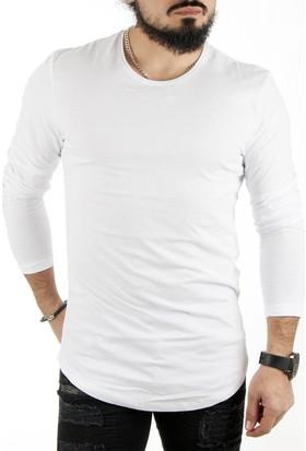 Deepsea Beyaz Sıfır Yaka Dar Kesim Uzun Kollu Erkek Sweatshirt 1808016