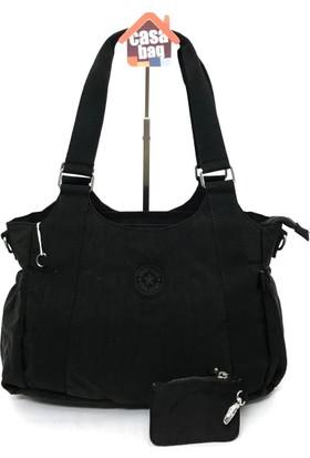 Smart Bags Krinkıl Kumaş Kadın Omuz - Çapraz Çantası Siyah