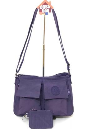 Smart Bags Krinkıl Kumaş Kadın Omuz - Çapraz Çantası Mor