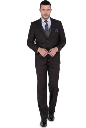 Buenza 120S 4 Drop Erkek Takım Elbise-Kahverengi