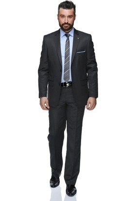 Buenza Klasik Kesim Yün Erkek Takım Elbise - Koyu Gri
