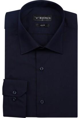 Buenza Düz Renk Dar Kesim Yeni Erkek Gömlek-Lacivert