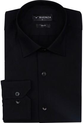 Buenza Düz Renk Dar Kesim Yeni Erkek Gömlek-Siyah