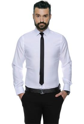 Buenza 4117 Dar Kesim Desenli Erkek Gömlek Beyaz