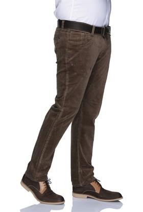 Buenza Dar Kesim Kadife Likralı Erkek Pantolon - Açık Kahverengi
