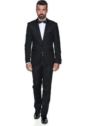Buenza Art Smokın Yeleklı Dar Kalıp Takım Elbise - Siyah