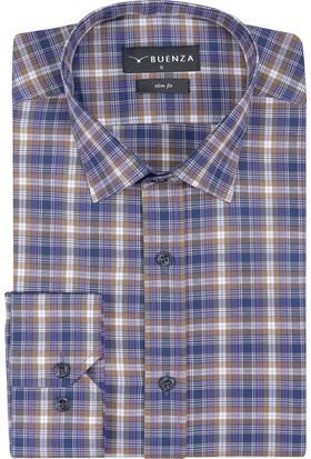 Buenza Sry Soft Ekose 058 Slim Fit Uzun Kol Gömlek - Hardal