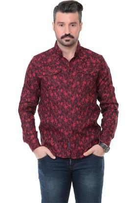 Buenza Mrk 1603 Double Face Slim Fit Uzun Kol Gömlek - Kırmızı