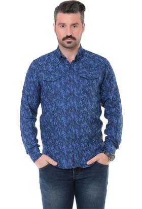 Buenza Mrk 1603 Double Face Slim Fit Uzun Kol Gömlek - Sax Mavi