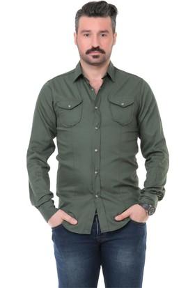 Buenza Mrk Düz Kapaklı Cep Slim Fit Uzun Kol Gömlek - Yeşil