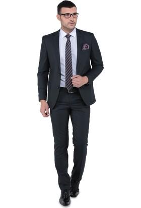Buenza Oscar Mono Cift Yrt Slim Fit Takım Elbise - Siyah