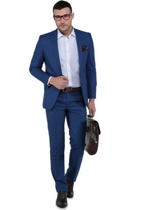 Buenza Oscar Mono Çift Yrt Slim Fit Takım Elbise - Mavi