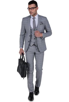 Buenza Luca Mono Yelekli Dar Kalıp Takım Elbise-Gri