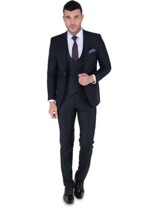 Buenza Akf Mono Yelekli Dar Kalıp Takım Elbise-Lacivert