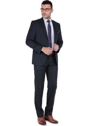 Buenza Klasik Kesim Yün Erkek Takım Elbise - Lacivert